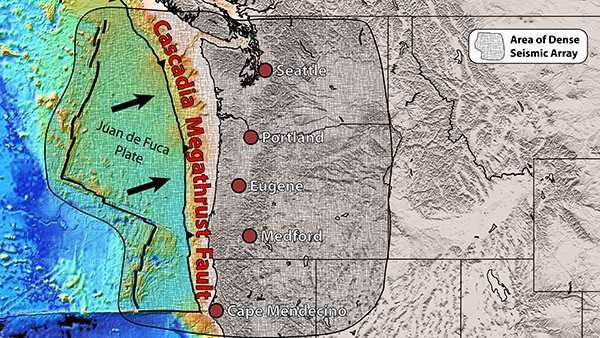Pieces of mantle found rising under north and south ends of Cascadia fault