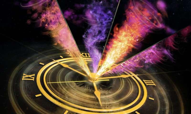 Spinning black hole sprays light speed plasma clouds into space