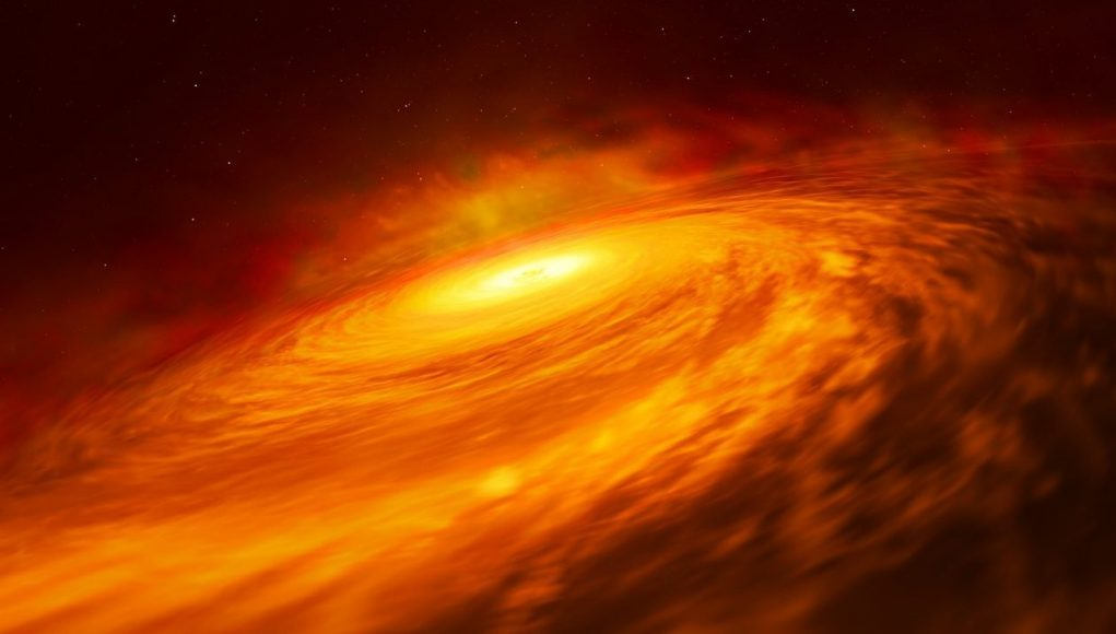 cropped Hubble discovers mysterious black hole disc