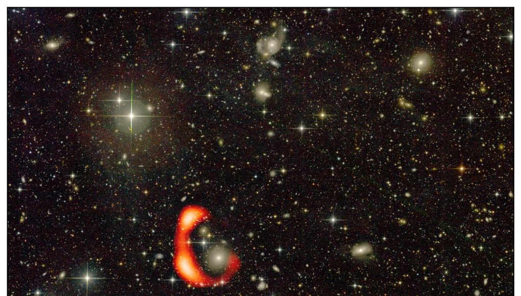 GMRT discovers a gigantic ring of hydrogen gas around a distant galaxy