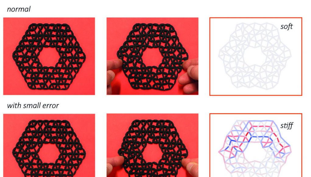 Topological defects produce exotic mechanics in complex metamaterials
