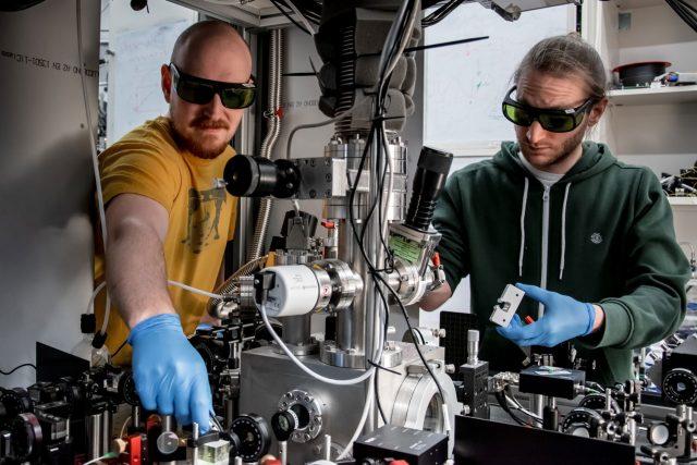 A quantum of solid A glass nanoparticle in the quantum regime