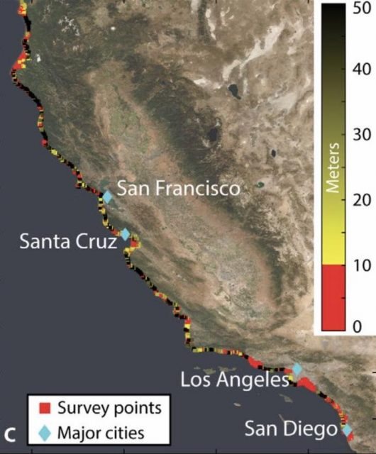 Satellite survey shows Californias sinking coastal hotspots