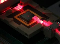 Control ions for quantum computing and sensing via on chip fiber optics