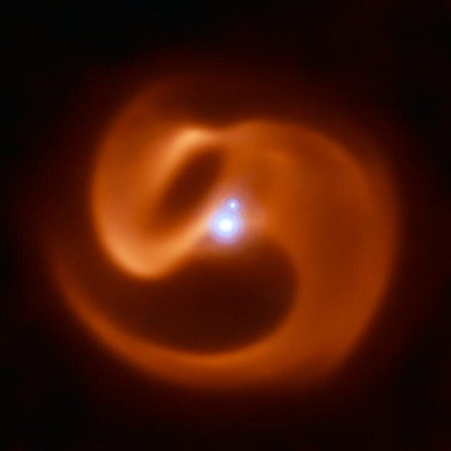 In the eye of a stellar cyclone Bizarre secrets of a ticking time bomb star