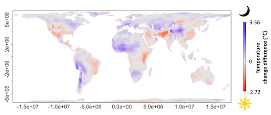 Nights warming faster than days across much of the planet
