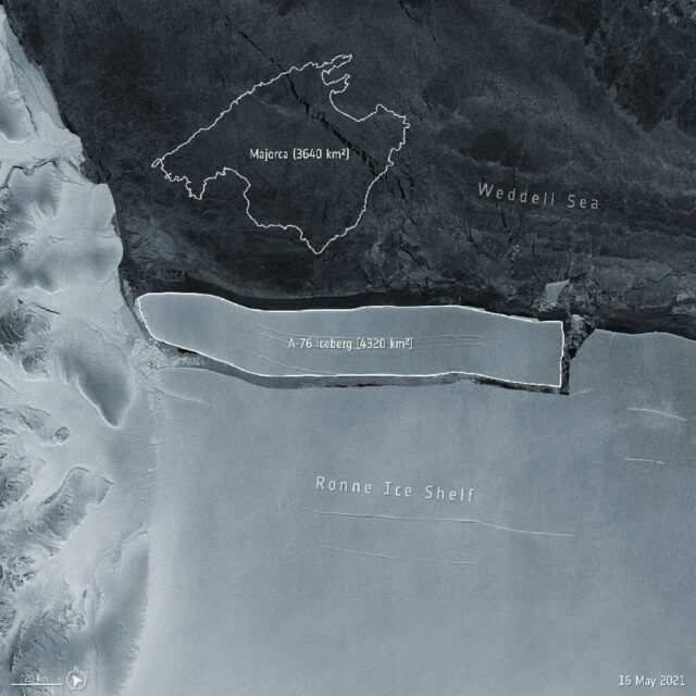The largest iceberg, dubbed A-76, measures around 4320 sq km in size – currently making it the largest berg in the world.